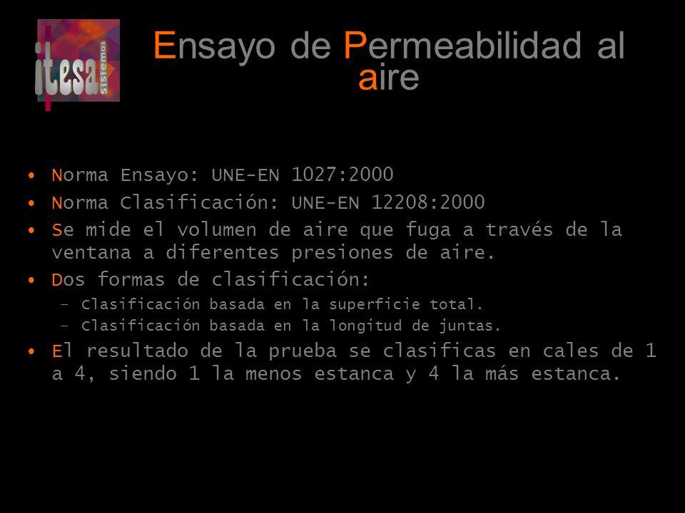 Ensayo de Permeabilidad al aire Norma Ensayo: UNE-EN 1027:2000 Norma Clasificación: UNE-EN 12208:2000 Se mide el volumen de aire que fuga a través de