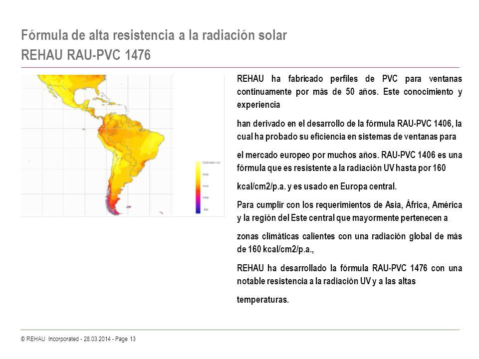 © REHAU Incorporated - 28.03.2014 - Page 13 Fórmula de alta resistencia a la radiación solar REHAU RAU-PVC 1476 REHAU ha fabricado perfiles de PVC par
