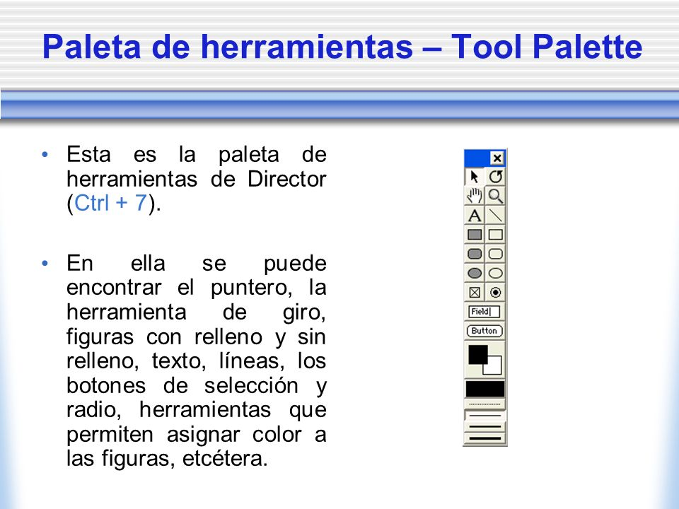 Paleta de herramientas – Tool Palette Esta es la paleta de herramientas de Director (Ctrl + 7).