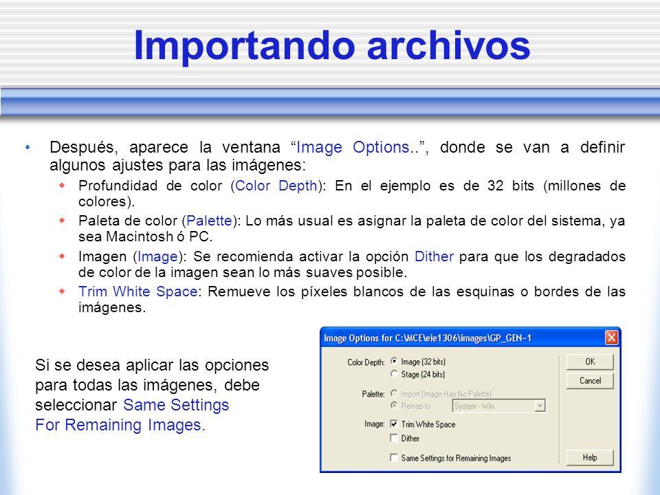 Importando archivos Después, aparece la ventana Image Options.., donde se van a definir algunos ajustes para las imágenes: Profundidad de color (Color Depth): En el ejemplo es de 32 bits (millones de colores).