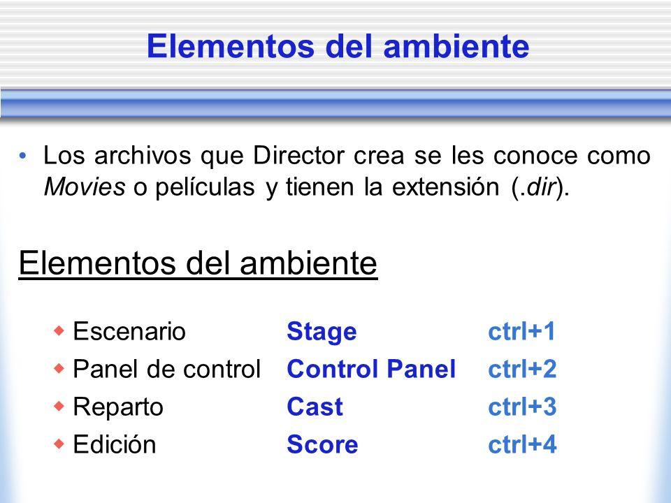 Elementos del ambiente Los archivos que Director crea se les conoce como Movies o películas y tienen la extensión (.dir).