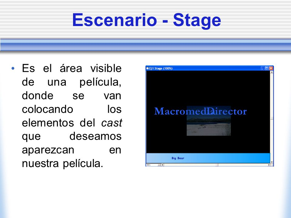 Escenario - Stage Es el área visible de una película, donde se van colocando los elementos del cast que deseamos aparezcan en nuestra película.