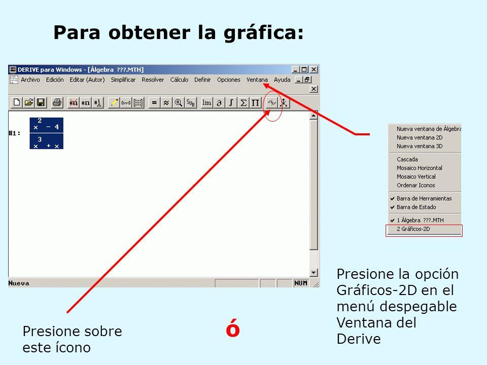 Presione la opción Gráficos-2D en el menú despegable Ventana del Derive Para obtener la gráfica: Presione sobre este ícono ó