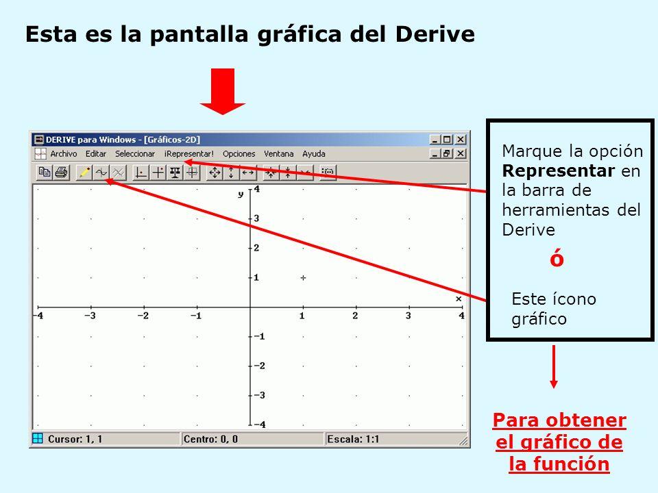 Esta es la pantalla gráfica del Derive Marque la opción Representar en la barra de herramientas del Derive Este ícono gráfico ó Para obtener el gráfic