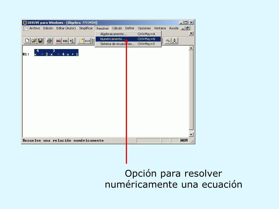 Opción para resolver numéricamente una ecuación