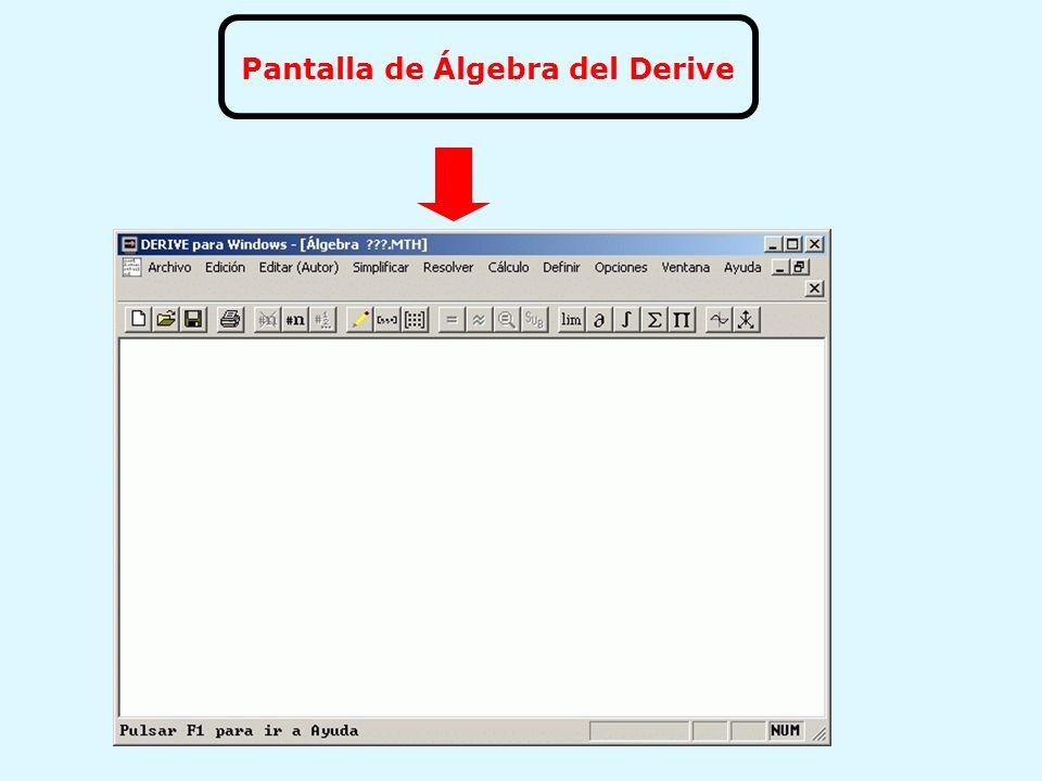 Pantalla de Álgebra del Derive