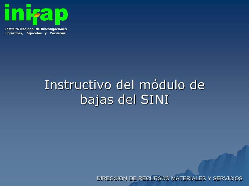 DIRECCION DE RECURSOS MATERIALES Y SERVICIOS Instructivo del módulo de bajas del SINI Instituto Nacional de Investigaciones Forestales, Agrícolas y Pecuarias