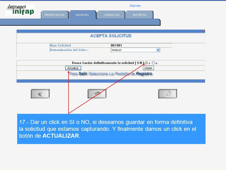 17.- Dar un click en SI o NO, si deseamos guardar en forma definitiva la solicitud que estamos capturando.