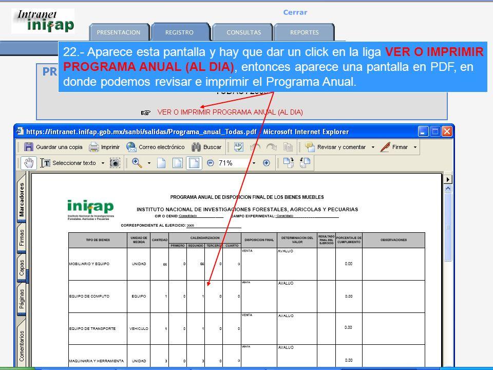 22.- Aparece esta pantalla y hay que dar un click en la liga VER O IMPRIMIR PROGRAMA ANUAL (AL DIA), entonces aparece una pantalla en PDF, en donde podemos revisar e imprimir el Programa Anual.