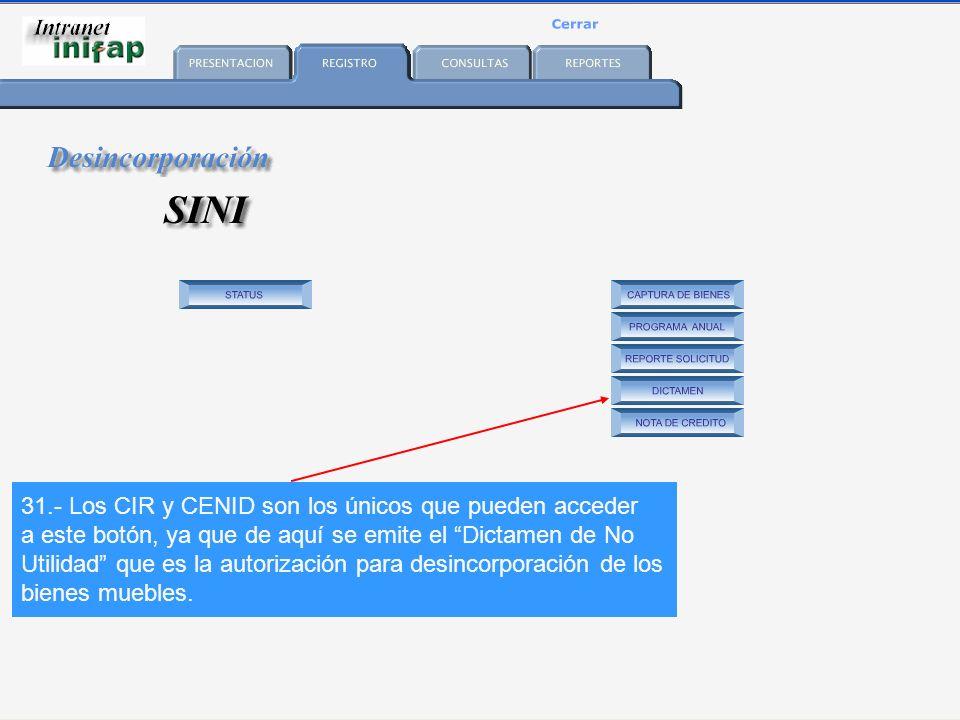 31.- Los CIR y CENID son los únicos que pueden acceder a este botón, ya que de aquí se emite el Dictamen de No Utilidad que es la autorización para desincorporación de los bienes muebles.