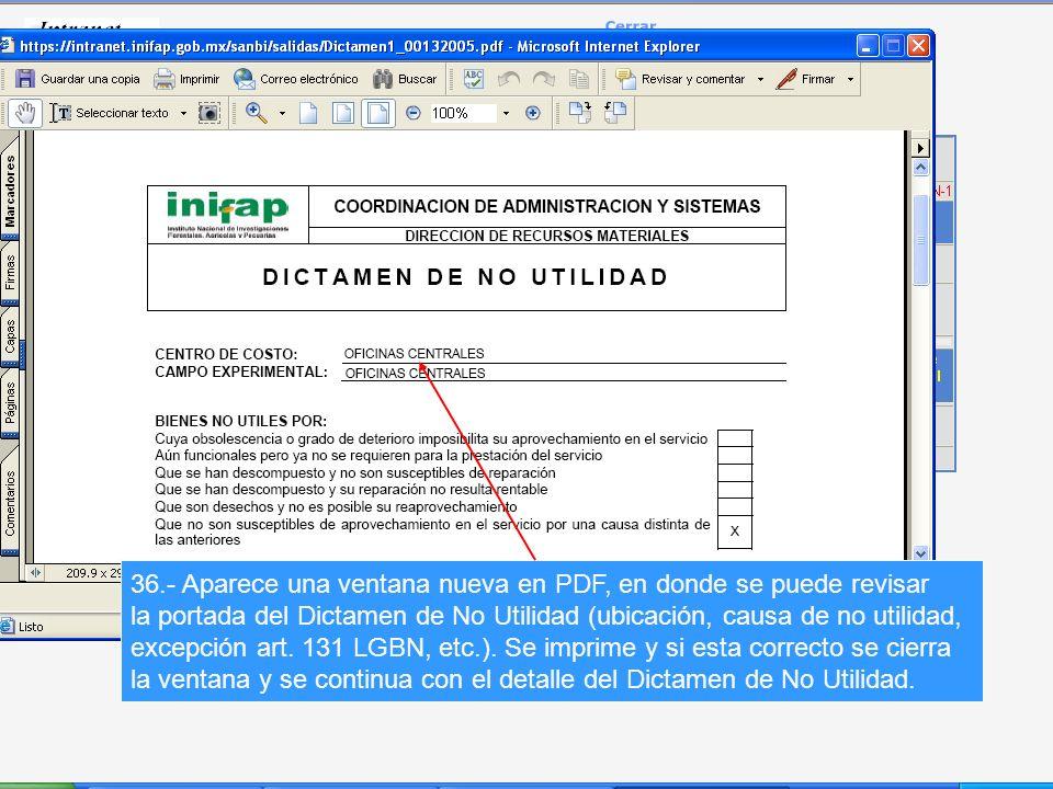 36.- Aparece una ventana nueva en PDF, en donde se puede revisar la portada del Dictamen de No Utilidad (ubicación, causa de no utilidad, excepción art.