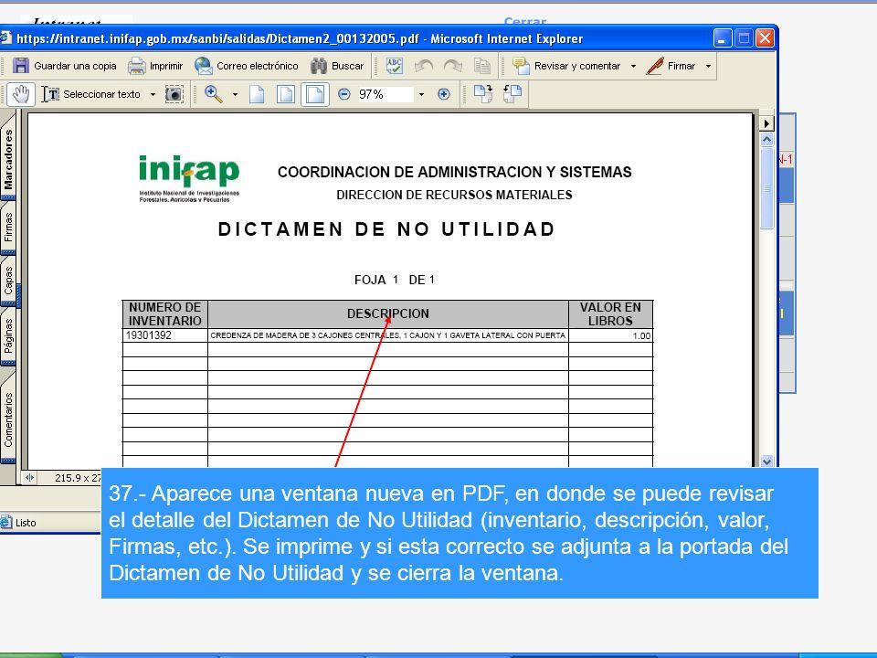 37.- Aparece una ventana nueva en PDF, en donde se puede revisar el detalle del Dictamen de No Utilidad (inventario, descripción, valor, Firmas, etc.).