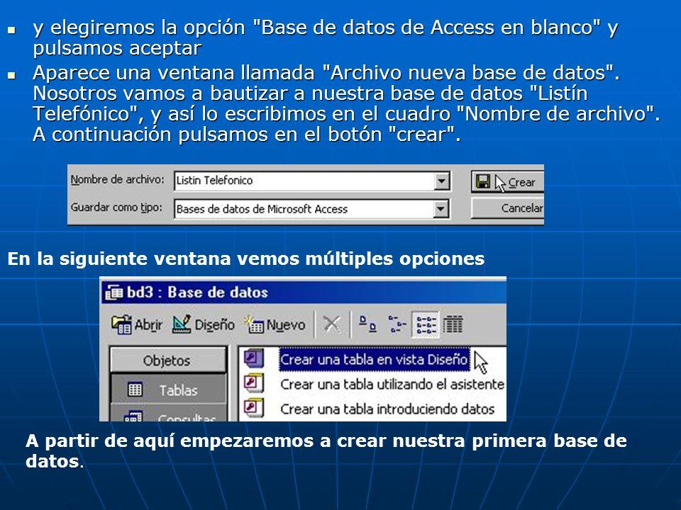 y elegiremos la opción Base de datos de Access en blanco y pulsamos aceptar y elegiremos la opción Base de datos de Access en blanco y pulsamos aceptar Aparece una ventana llamada Archivo nueva base de datos .
