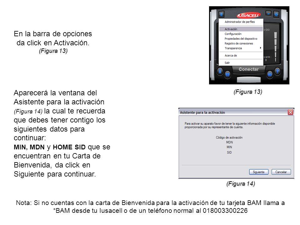En la barra de opciones da click en Activación. (Figura 13) Aparecerá la ventana del Asistente para la activación (Figura 14) la cual te recuerda que