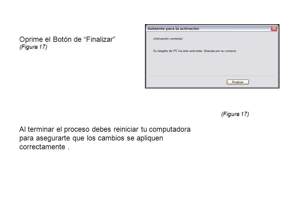Oprime el Botón de Finalizar (Figura 17) Al terminar el proceso debes reiniciar tu computadora para asegurarte que los cambios se apliquen correctamen
