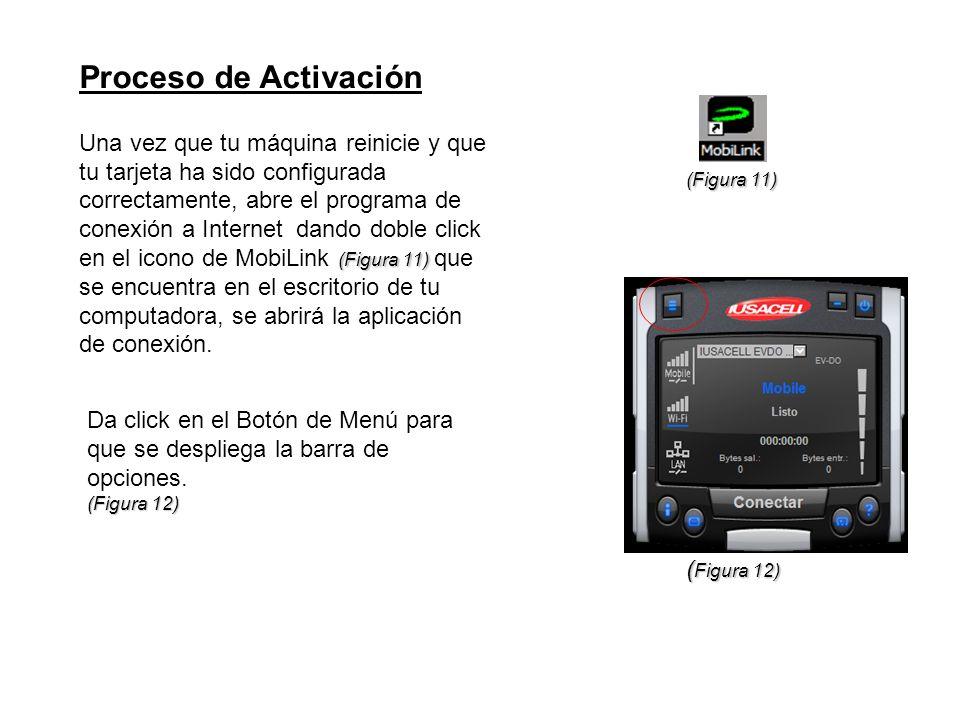 Proceso de Activación (Figura 11) Una vez que tu máquina reinicie y que tu tarjeta ha sido configurada correctamente, abre el programa de conexión a I