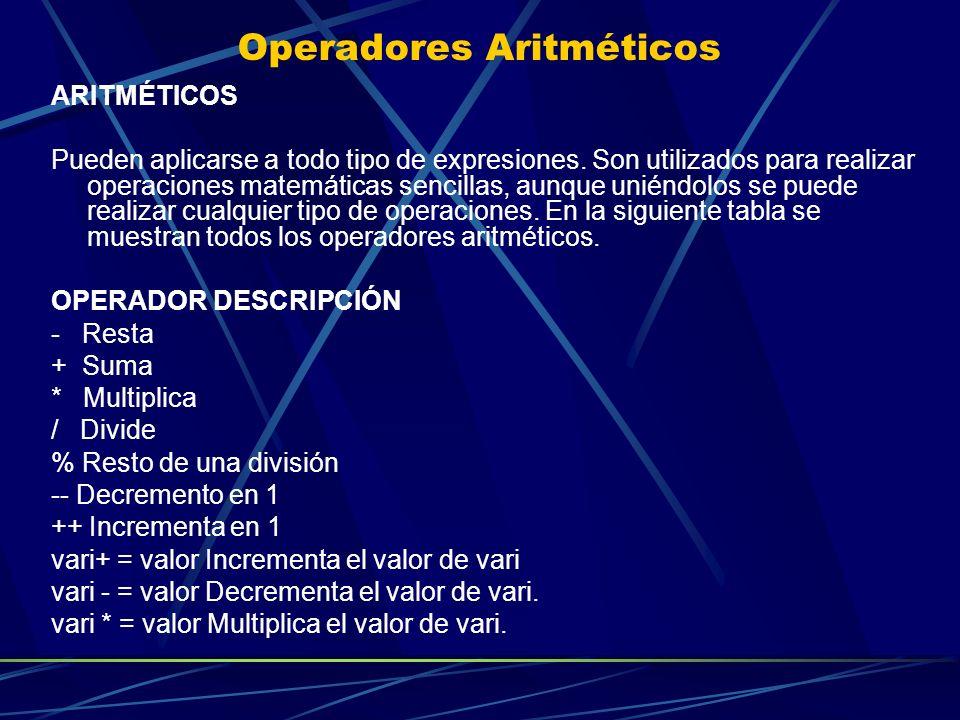 Operadores Aritméticos ARITMÉTICOS Pueden aplicarse a todo tipo de expresiones. Son utilizados para realizar operaciones matemáticas sencillas, aunque