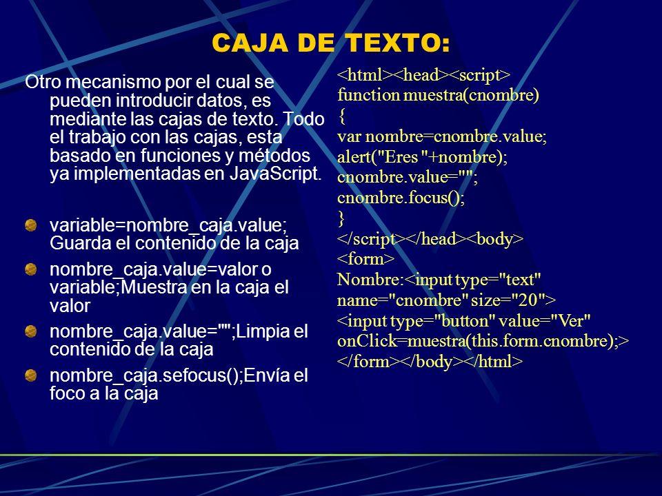 CAJA DE TEXTO: Otro mecanismo por el cual se pueden introducir datos, es mediante las cajas de texto. Todo el trabajo con las cajas, esta basado en fu