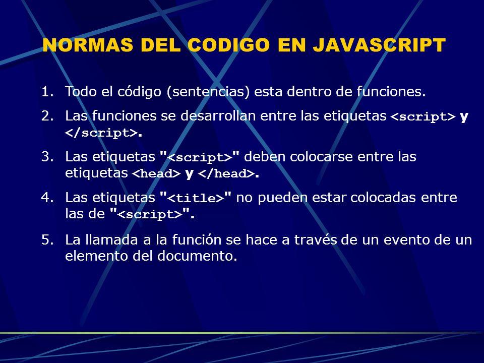 NORMAS DEL CODIGO EN JAVASCRIPT 1.Todo el código (sentencias) esta dentro de funciones. 2.Las funciones se desarrollan entre las etiquetas y. 3.Las et