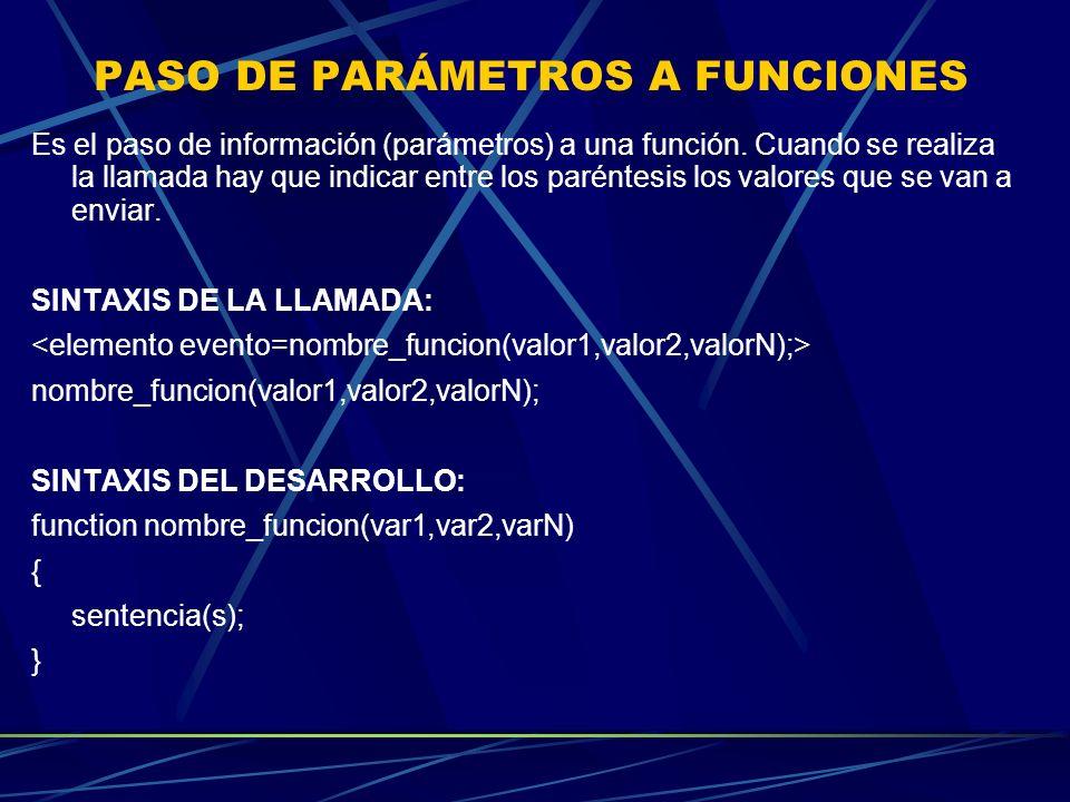 PASO DE PARÁMETROS A FUNCIONES Es el paso de información (parámetros) a una función. Cuando se realiza la llamada hay que indicar entre los paréntesis