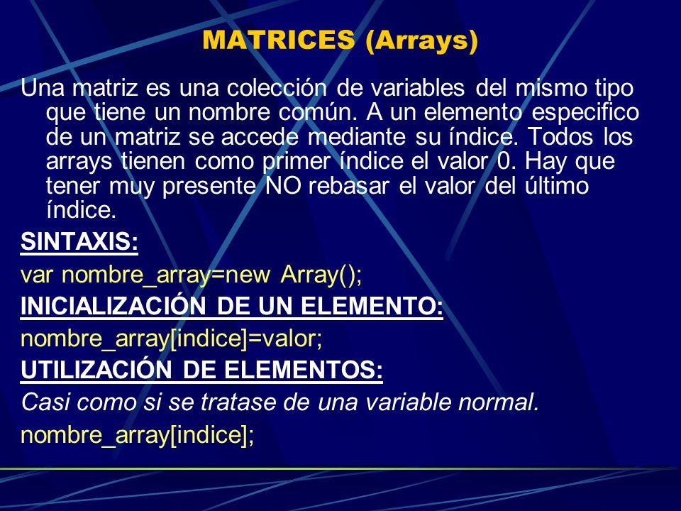 MATRICES (Arrays) Una matriz es una colección de variables del mismo tipo que tiene un nombre común. A un elemento especifico de un matriz se accede m