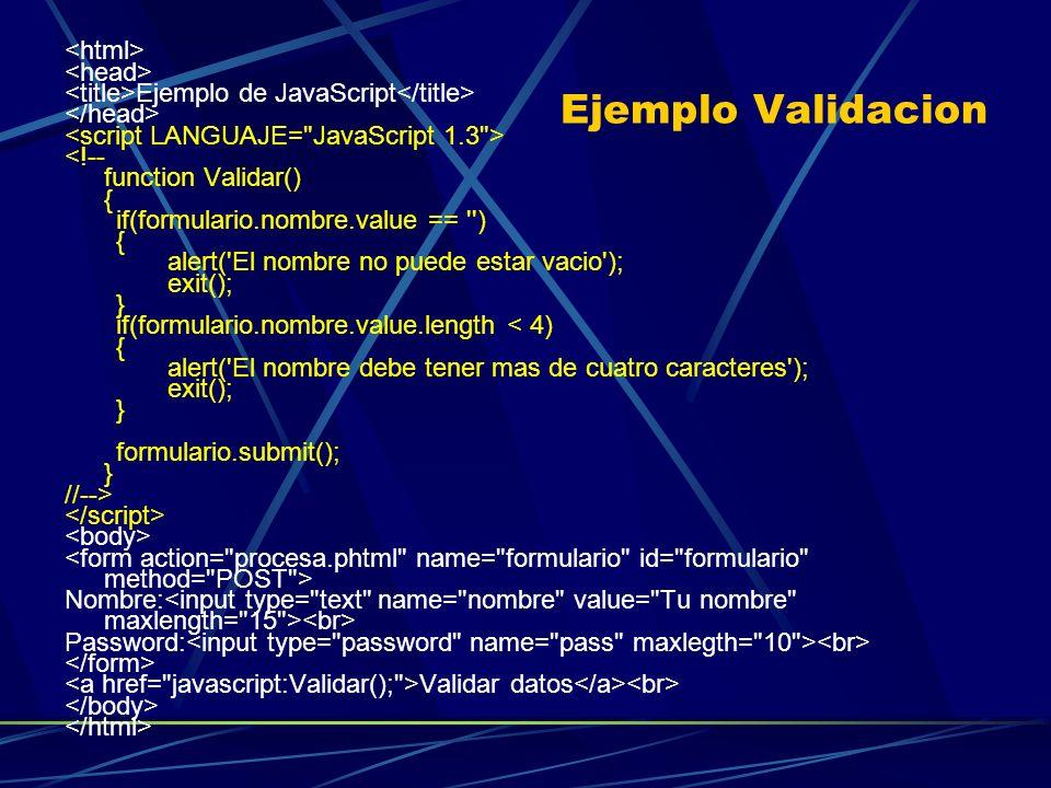 Ejemplo Validacion Ejemplo de JavaScript <!-- function Validar() { if(formulario.nombre.value == '') { alert('El nombre no puede estar vacio'); exit()