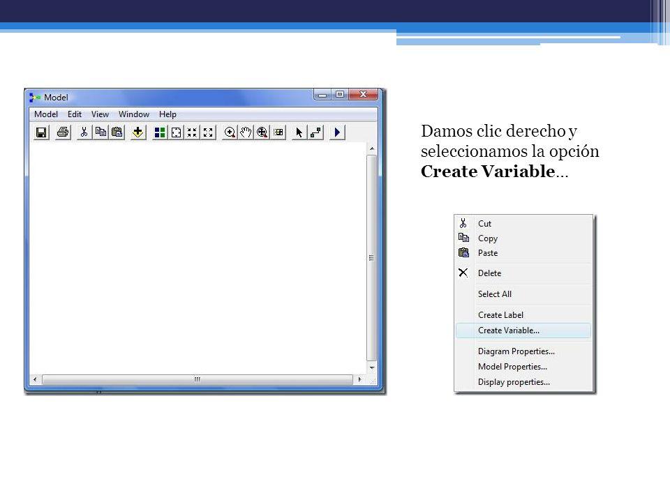 Damos clic derecho y seleccionamos la opción Create Variable…