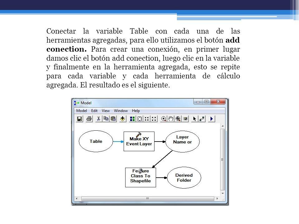 Conectar la variable Table con cada una de las herramientas agregadas, para ello utilizamos el botón add conection. Para crear una conexión, en primer