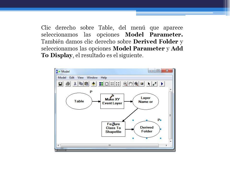 Clic derecho sobre Table, del menú que aparece seleccionamos las opciones Model Parameter. También damos clic derecho sobre Derived Folder y seleccion