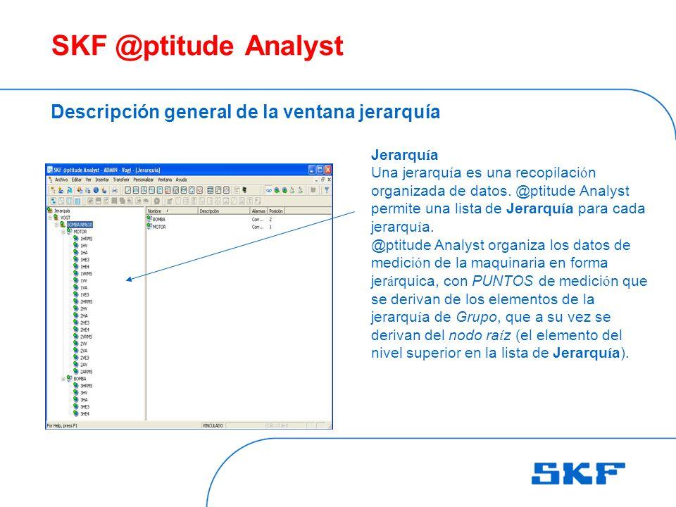 SKF @ptitude Analyst Descripción general de la ventana jerarquía Jerarqu í a Una jerarqu í a es una recopilaci ó n organizada de datos.