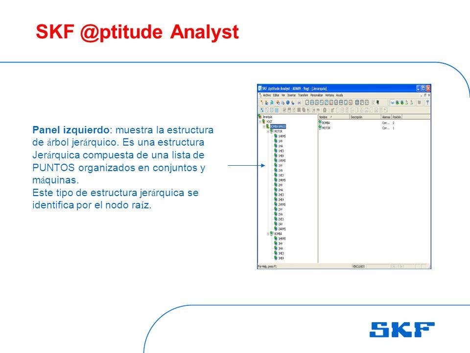 SKF @ptitude Analyst Panel izquierdo: muestra la estructura de á rbol jer á rquico.