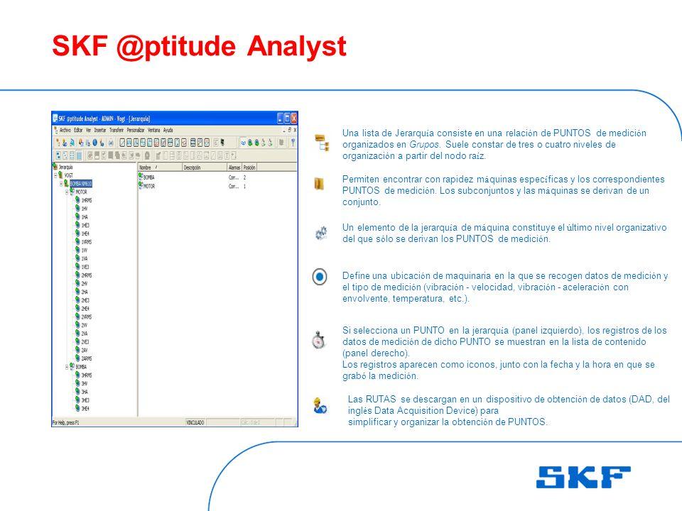 SKF @ptitude Analyst Una lista de Jerarqu í a consiste en una relaci ó n de PUNTOS de medici ó n organizados en Grupos.
