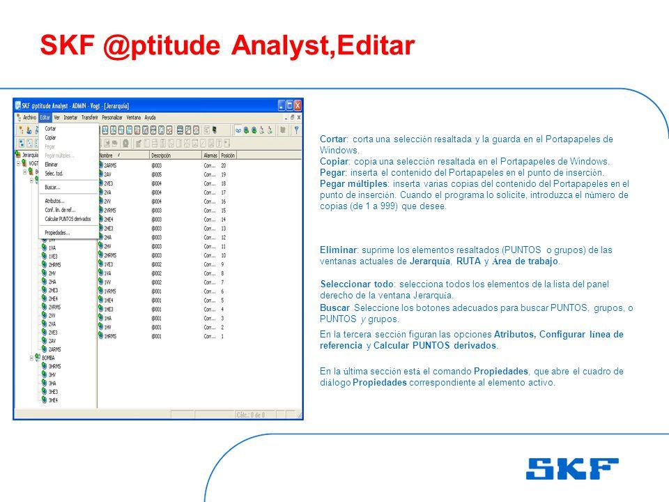 SKF @ptitude Analyst,Editar Cortar: corta una selecci ó n resaltada y la guarda en el Portapapeles de Windows.