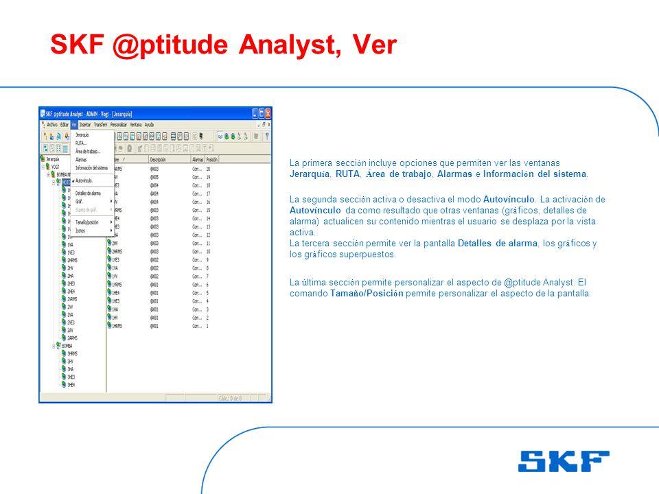 SKF @ptitude Analyst, Ver La primera secci ó n incluye opciones que permiten ver las ventanas Jerarqu í a, RUTA, Á rea de trabajo, Alarmas e Informaci ó n del sistema.