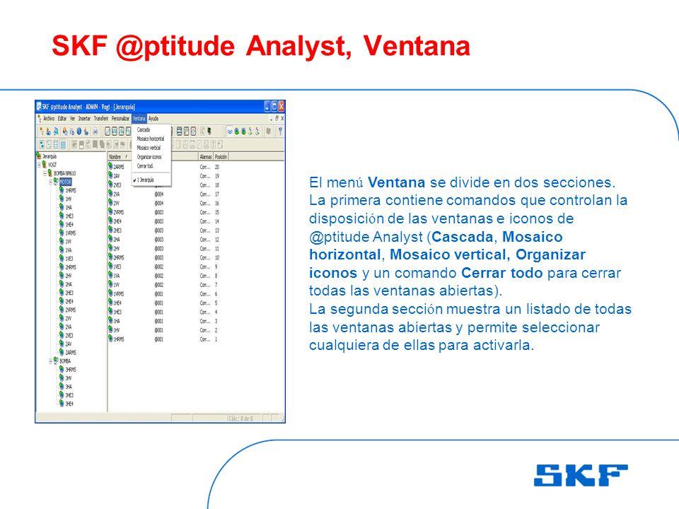 SKF @ptitude Analyst, Ventana El men ú Ventana se divide en dos secciones.