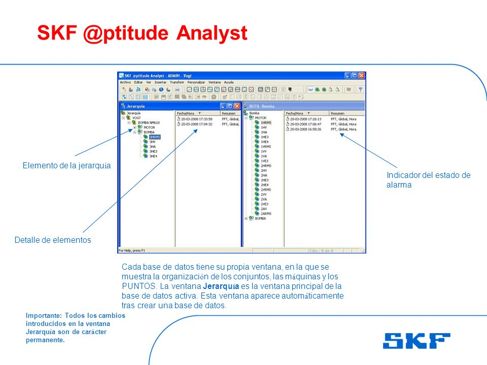 SKF @ptitude Analyst Cada base de datos tiene su propia ventana, en la que se muestra la organizaci ó n de los conjuntos, las m á quinas y los PUNTOS.