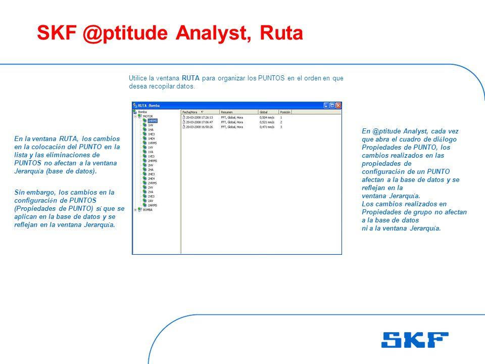 SKF @ptitude Analyst, Ruta Utilice la ventana RUTA para organizar los PUNTOS en el orden en que desea recopilar datos.