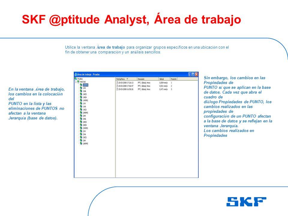 SKF @ptitude Analyst, Área de trabajo Utilice la ventana Á rea de trabajo para organizar grupos espec í ficos en una ubicaci ó n con el fin de obtener una comparaci ó n y un an á lisis sencillos.