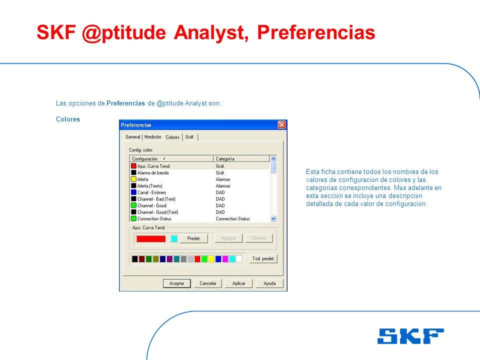 SKF @ptitude Analyst, Preferencias Las opciones de Preferencias de @ptitude Analyst son: Colores Esta ficha contiene todos los nombres de los valores de configuraci ó n de colores y las categor í as correspondientes.