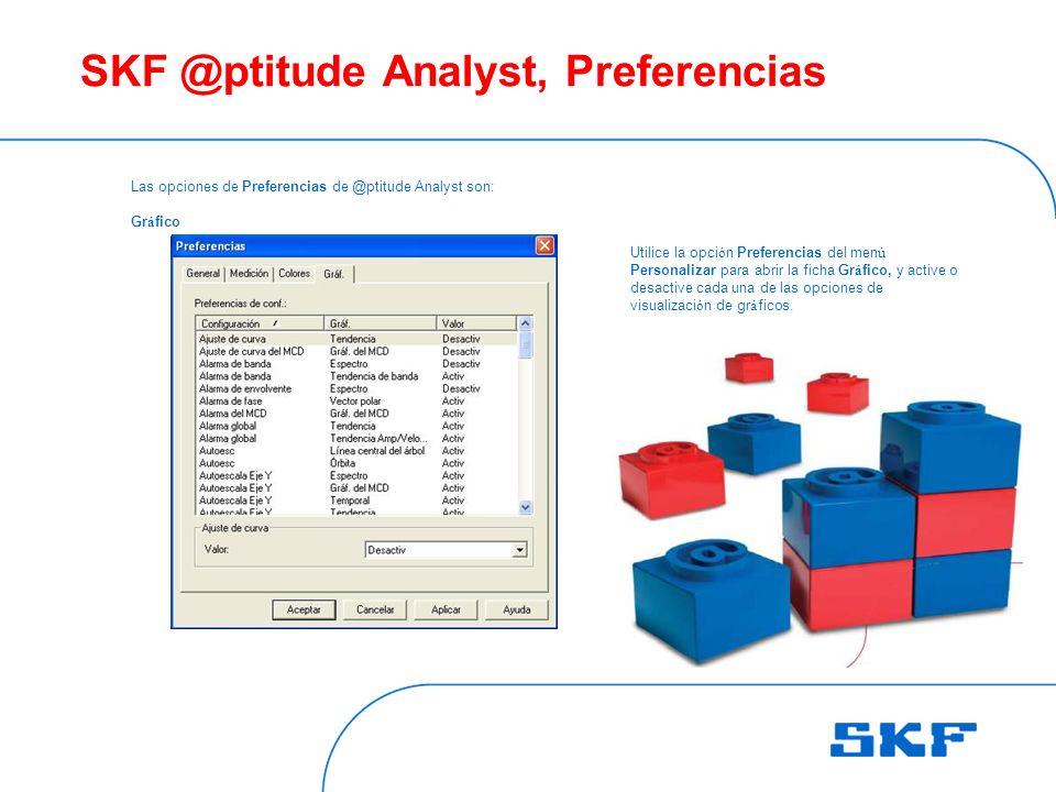 SKF @ptitude Analyst, Preferencias Las opciones de Preferencias de @ptitude Analyst son: Gr á fico Utilice la opci ó n Preferencias del men ú Personalizar para abrir la ficha Gr á fico, y active o desactive cada una de las opciones de visualizaci ó n de gr á ficos.