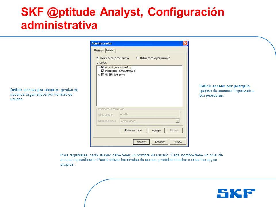 SKF @ptitude Analyst, Configuración administrativa Para registrarse, cada usuario debe tener un nombre de usuario.