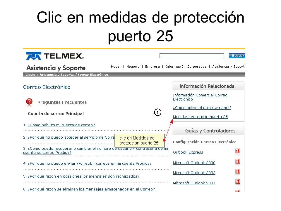 Clic en medidas de protección puerto 25