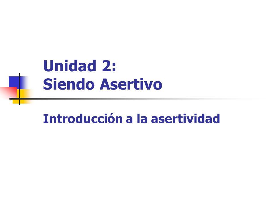 Conducta asertiva Conducta pasiva Conducta agresiva Implica respeto hacia uno mismo (expresar necesidades y defender derechos).