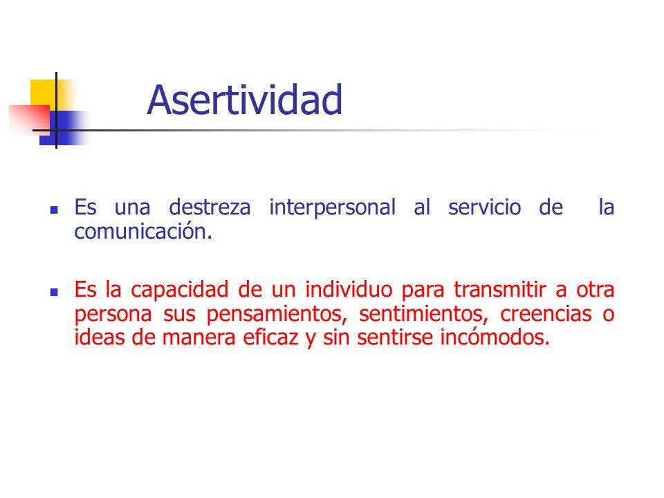 Asertividad Es una destreza interpersonal al servicio de la comunicación.