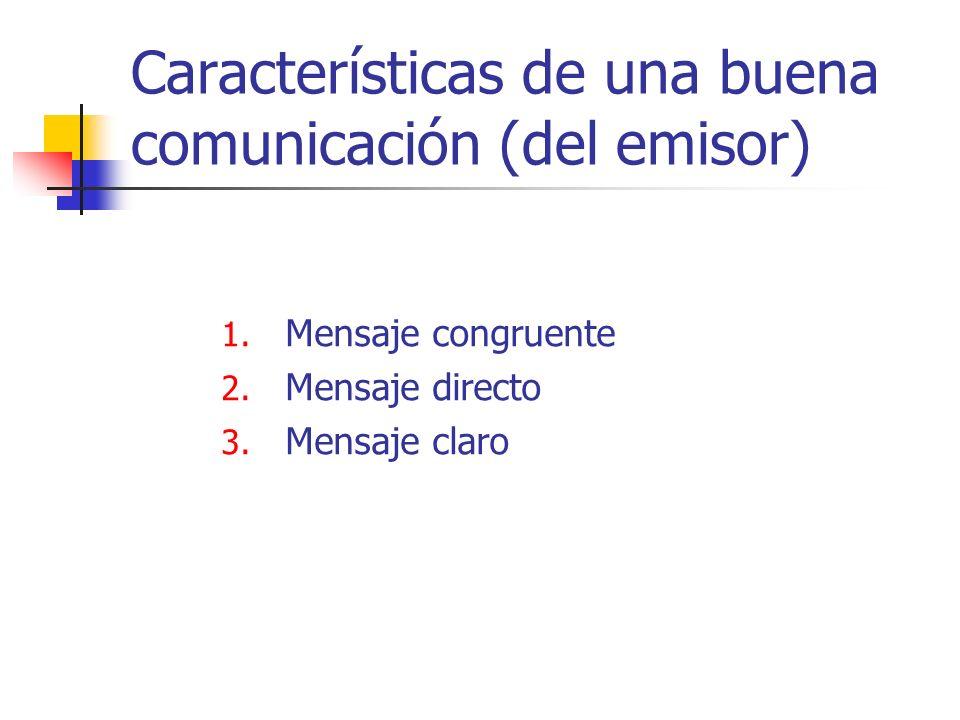 1.Mensaje congruente 2. Mensaje directo 3.