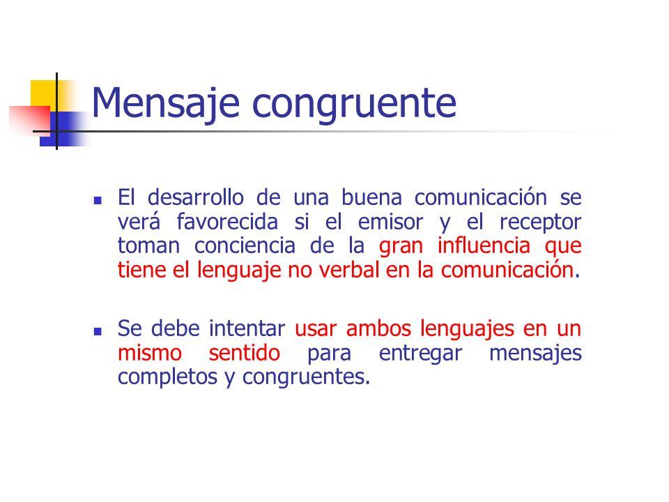 La incongruencia significa que uno de los mensajes no es verdadero (generalmente el verbal).