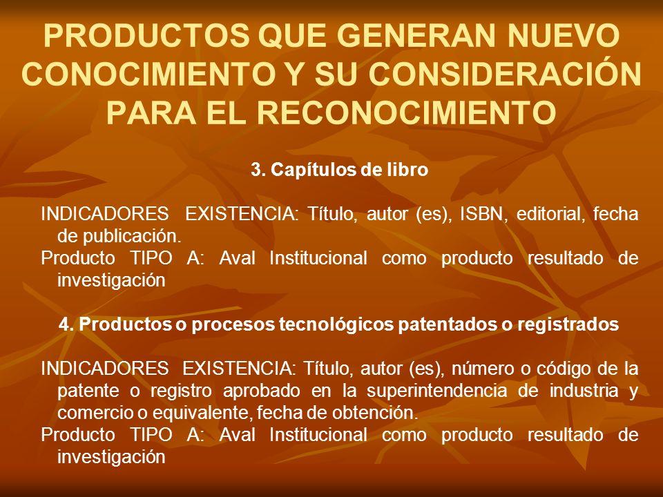 3. Capítulos de libro INDICADORES EXISTENCIA: Título, autor (es), ISBN, editorial, fecha de publicación. Producto TIPO A: Aval Institucional como prod