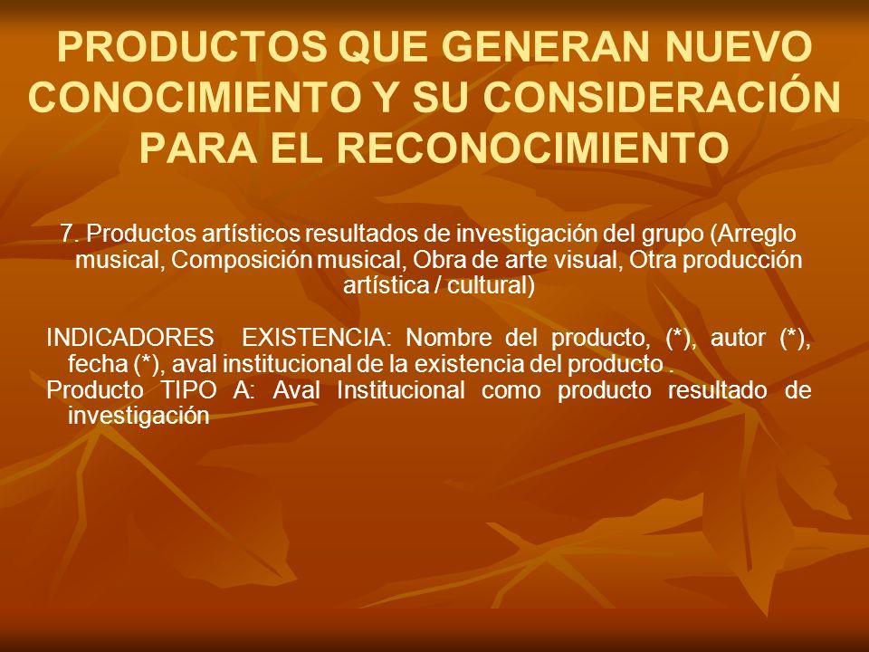 7. Productos artísticos resultados de investigación del grupo (Arreglo musical, Composición musical, Obra de arte visual, Otra producción artística /