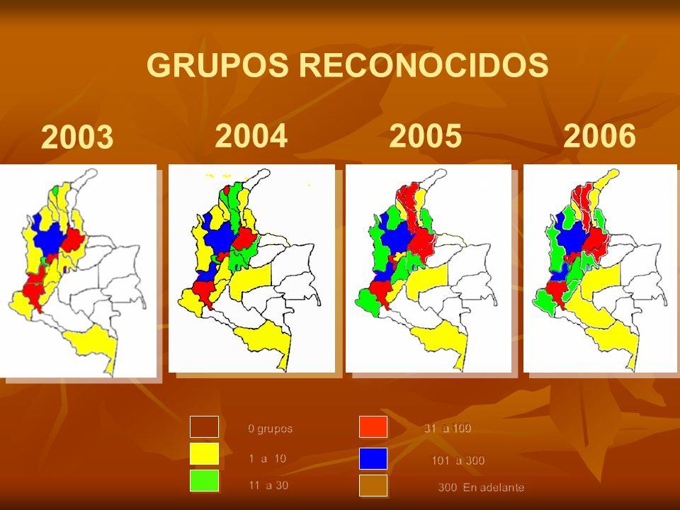 GRUPOS RECONOCIDOS 20052004 2003 2006 0 grupos 31 a 100 1 a 10 11 a 30 101 a 300 300 En adelante