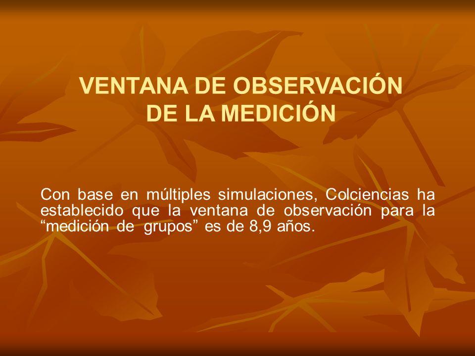 VENTANA DE OBSERVACIÓN DE LA MEDICIÓN Con base en múltiples simulaciones, Colciencias ha establecido que la ventana de observación para la medición de grupos es de 8,9 años.